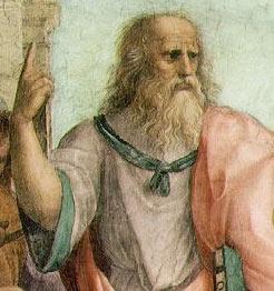 The School of Athens (detail). Fresco, Stanza della Segnatura, Palazzi Pontifici, Vatican.